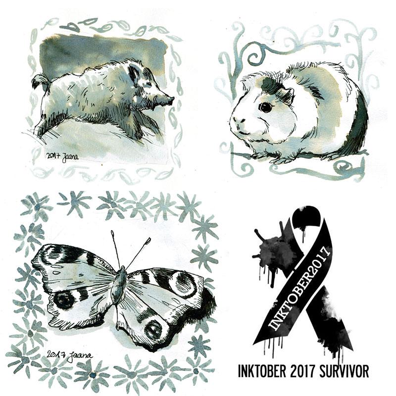 Inktober 2017 – Eine Entdeckungsreise in die Welt der Tiere – 31 Tage zeichnen Challenge
