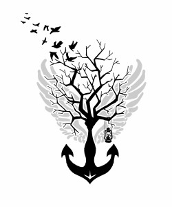 Anchor tree with wings